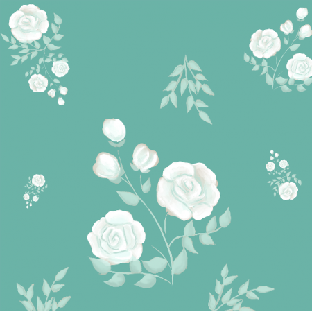 Tkanina 13386 | White roses (cyan background)