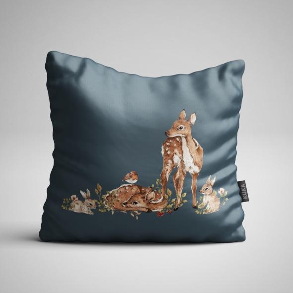 Fabric Pillow panel Roe-Deer - Dark
