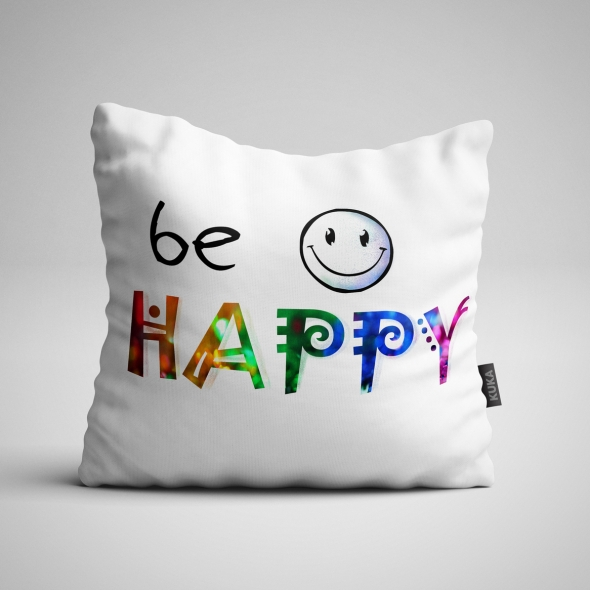 Fabric Pillow panel Be Happy