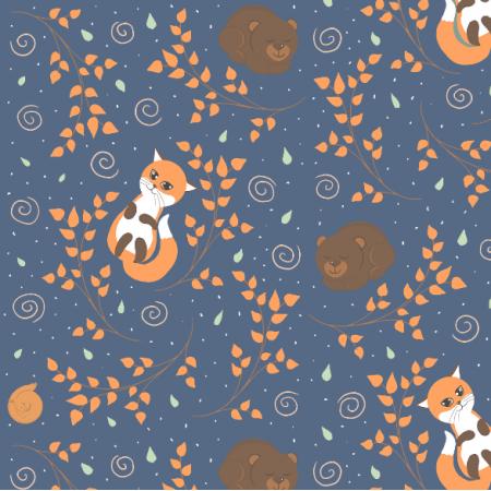 Fabric 13455 | Leśne śpioszki (pastelowy)