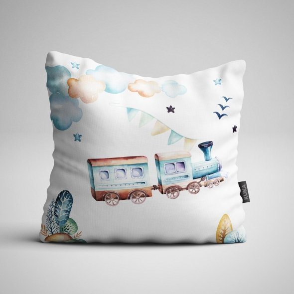 Fabric Pillow panel Boys World - Train