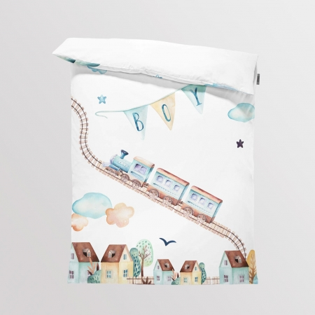 Bedding/Blanket Panel Boys World - Train