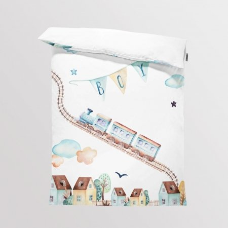Fabric Bedding/Blanket Panel Boys World - Train