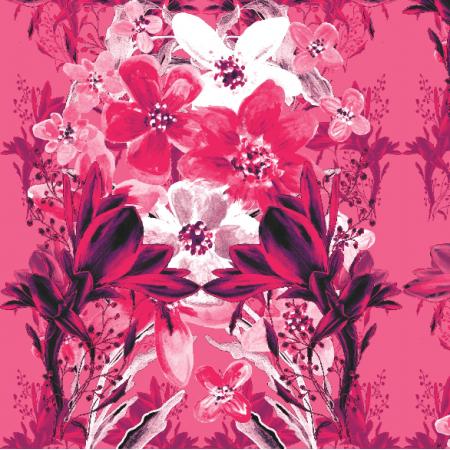 Tkanina 13534 | Kwiatowy różowy bukiet
