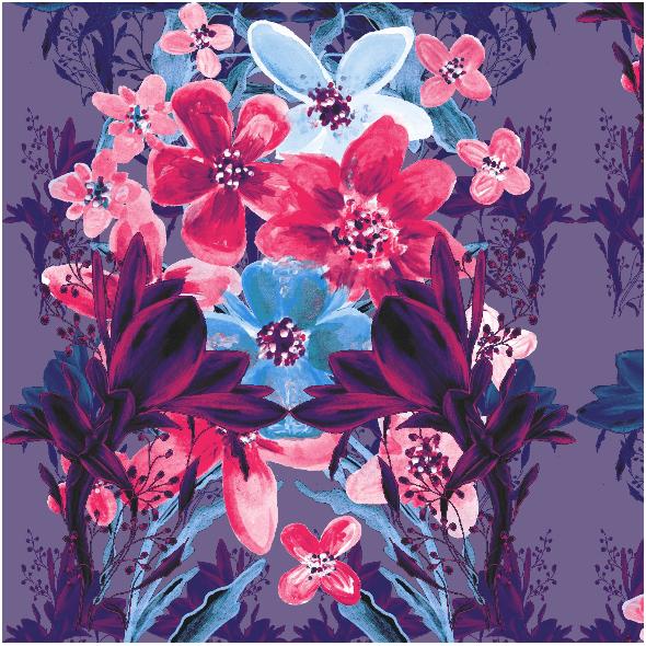 Tkanina 13535 | Kwiatowy niebiesko-róŻowy bukiet