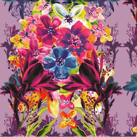 Tkanina 13537 | Kolorowy bukiet kwiatów