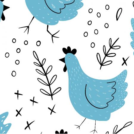 Fabric Błękitne kury, duży wzór