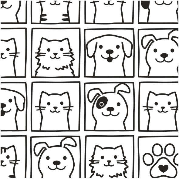 Fabric 13778 | cute dogs & cats portraits