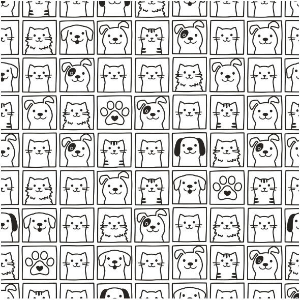 Fabric 13778   cute dogs & cats portraits