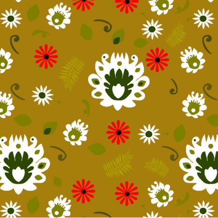Fabric 13884 | Folk na musztardowym