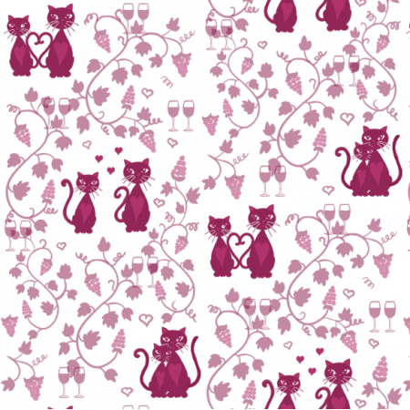 Fabric 13901 | Meow Wine valentine