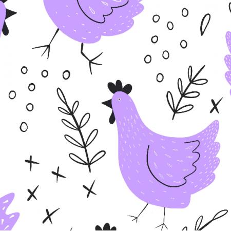Fabric 14017 | kury - wersja fioletowa