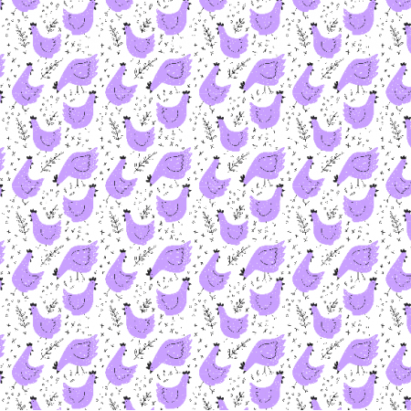 Fabric 14018 | kury - wersja fioletowa 01