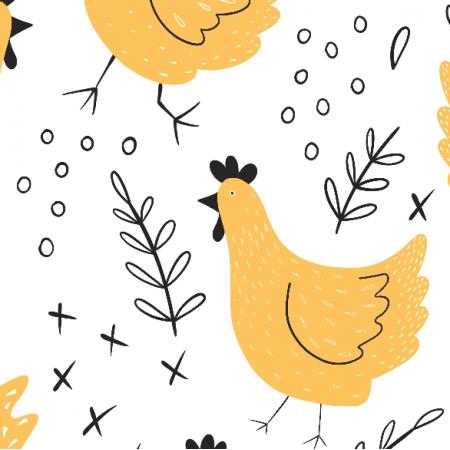 Fabric 14019 | kury - wersja żółta