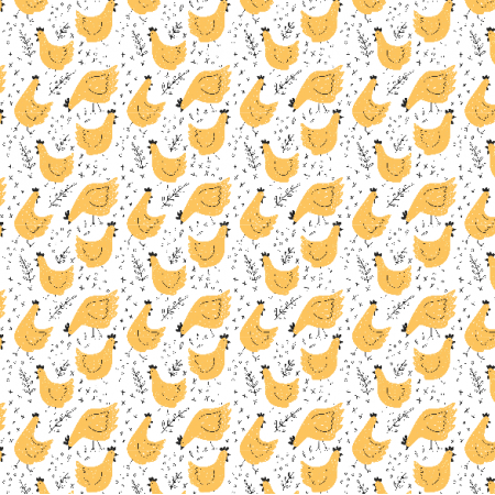 Tkanina 14021 | kury - wersja żółta01