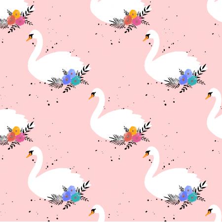 14149 | Tkanina w łabędzie na różowym tle