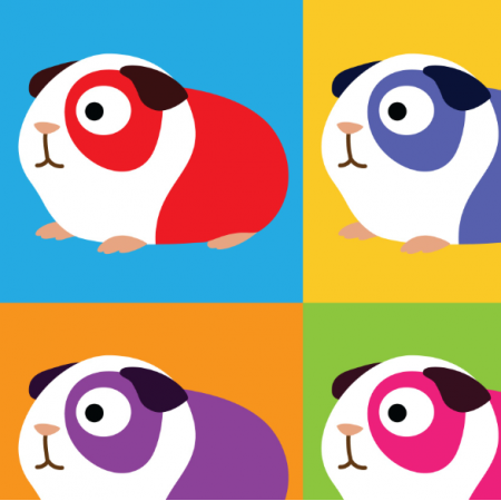 Tkanina 14182 | POP ART GUINEA PIGS