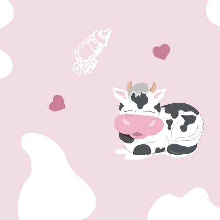 Tkanina 14201 | Happy cows - PINK