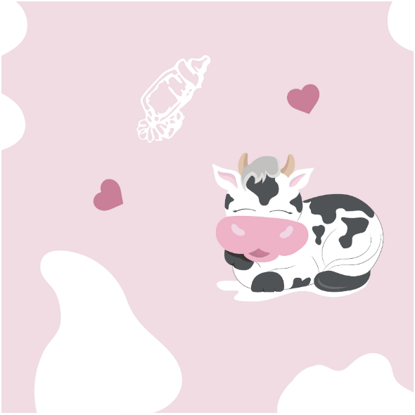 Fabric 14201   Happy cows - PINK