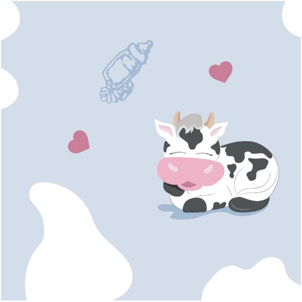 Fabric 14203 | Happy cowS - BLUE
