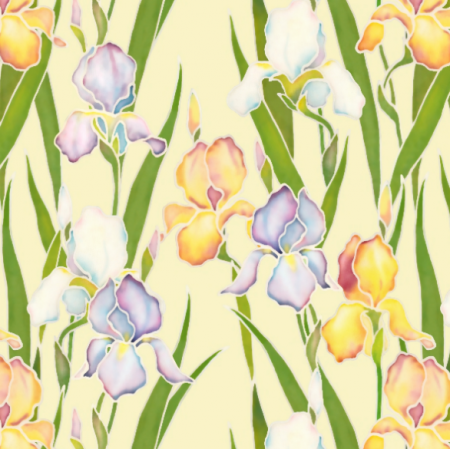 14205 | Irises garden on beige