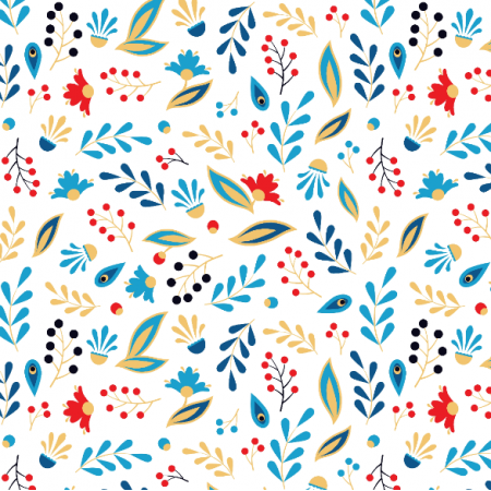 Fabric 14220 | Folk blue leaves