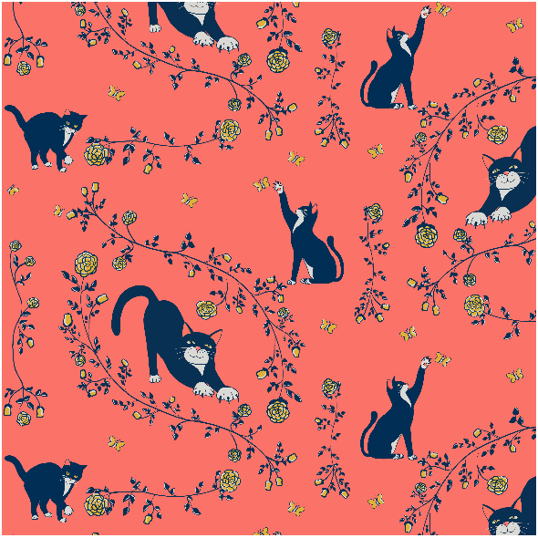 Fabric 14314   Cats AND gold roses