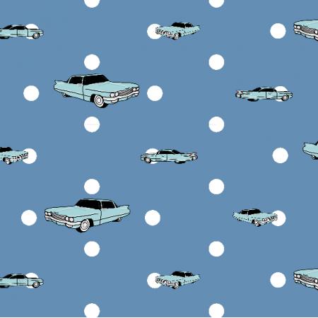 Fabric 14319 | Auta i Groszki (Niebieskie tło)
