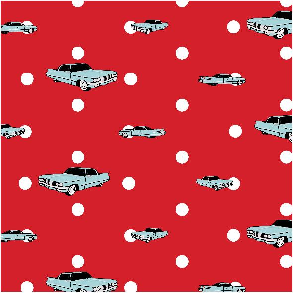 Fabric 14320 | Auta i Groszki (czerwone tło)