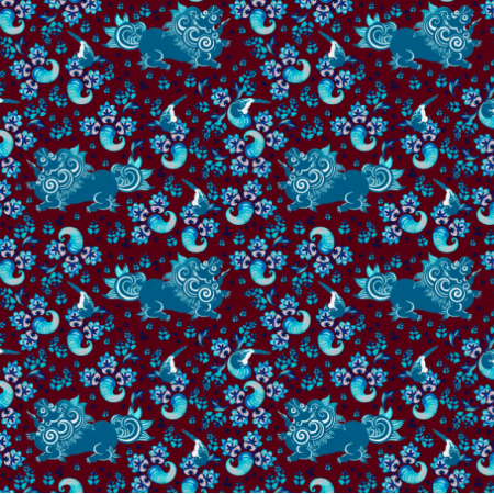 Fabric 14474 | Blue lion