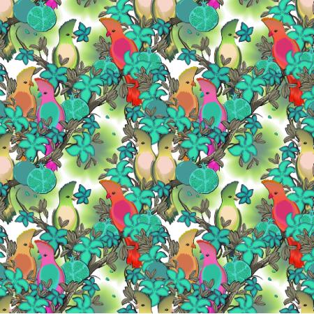 Tkanina 14479 | PARADISE BIRDS