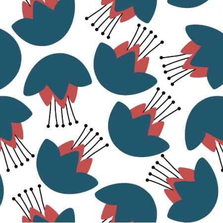 Fabric 14521 | niebiesko-czerwone kwiaty Kasper