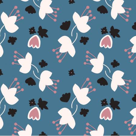 Tkanina 14522 | Kasumi drobne kwiaty na niebieskim tle