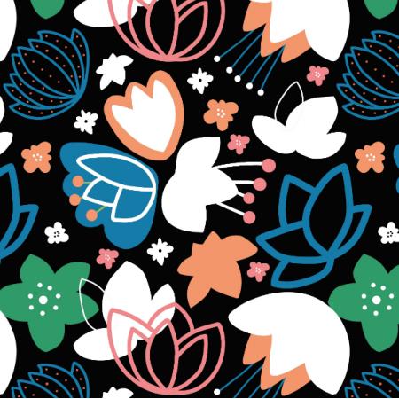 Tkanina 14530 | kolorowe kwiaty na czarnym tle zuzanna