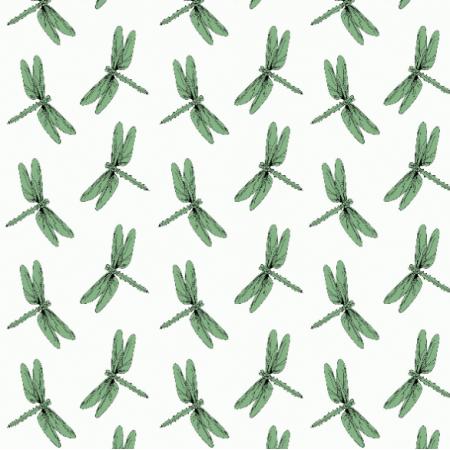 Fabric 14607 | Ważki na Bieli
