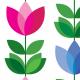 Tkanina 14727 | Tulipan Pink and Blue XL