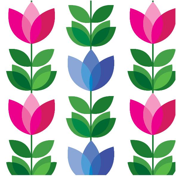 Tkanina 14728 | Tulipan Pink and Blue SMall