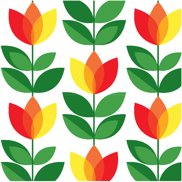 Tkanina 14730   Tulipan Yellow Red Small