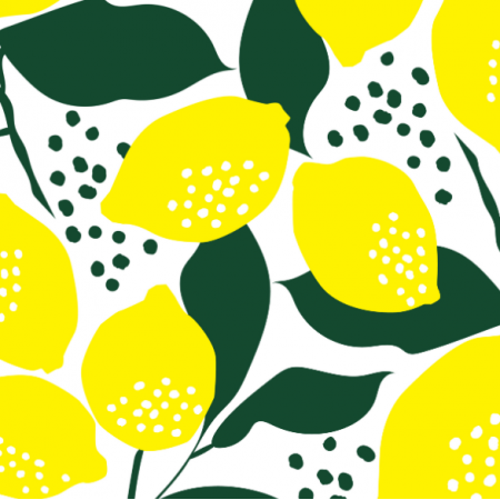 Fabric 14738 | Lemon Yellow and white Fresh Lime Lemonade