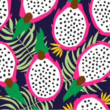 Fabric 14739 | Dragonfruit pitaya tropical navy background