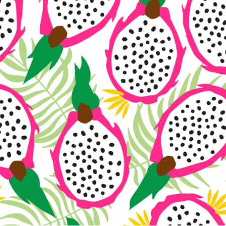 Tkanina 14740 | Dragonfruit pitaya tropical Fruit White background