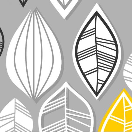 Tkanina  | retro leaves on gray