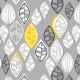 Fabric  | retro leaves on gray