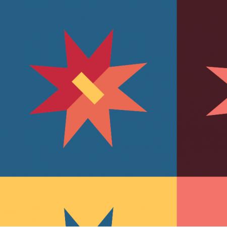 Tkanina 14938 | retro Gwiazdy  i kwadraty XXl0