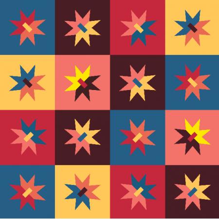Fabric 14939 | retro Gwiazdy  i kwadraty LARGE0