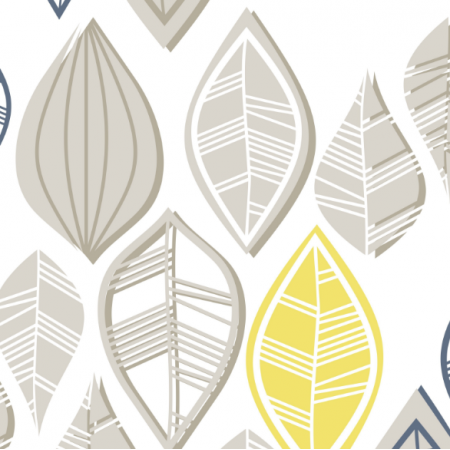 Fabric  | taupe yellow blue leaves on white