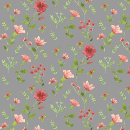 Tkanina 14982 | Różowa łączka szara
