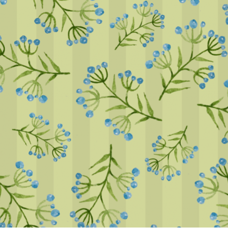 Fabric 15023 | Watercolor flowers on greens