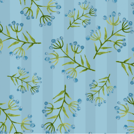 Fabric 15024 | Watercolors blue flowers