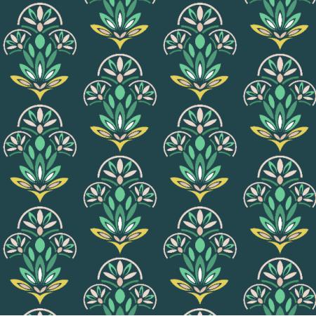 Fabric 15045 | geometryczny wzór w kwiaty etno ornament 3